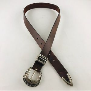 Capezio Woman's Brown Leather Belt Silver Buckle